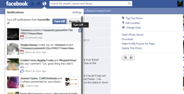 Off farmville events and other annoying notifications on facebook
